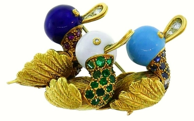 Yellow Gold Enamel D Pin BROOCH Clip French 1950s with