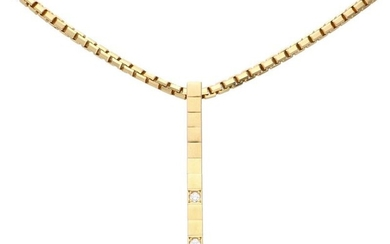 Yellow gold Cartier venetian link necklace with a Lanieres Diamond pendant, with approx. 0.03 ct diamond - 18 ct.