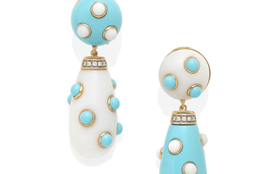a pair of 18k gold, turquoise and white agate ear pendants