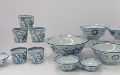12 Chinese Blue & White Bowl & Cups