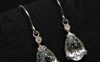 14 kt. White gold - Earrings - 7.50 ct Aquamarines - Diamonds