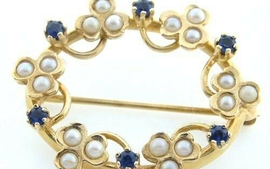 14K YELLOW GOLD ROUND CABOCHON PEARL SAPPHIRE PIN