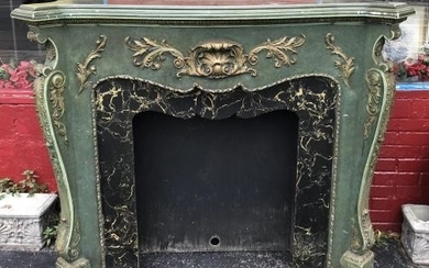 Hand Carved French Rococo Style Fireplace Mantle
