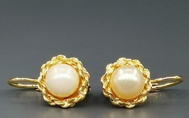 18 kt. Akoya pearl, Yellow gold, diameter 7.19 mm - Earrings