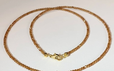 18 kt. Gold - Necklace - 0.06 ct Sapphire - Hessonite