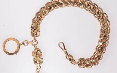 18 kt. Pink gold - Bracelet, Real Antique Victorian Bracelet with Stirrup Pendant - Anno 1880