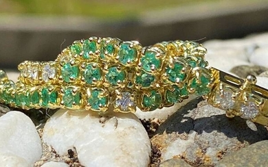 18 kt. White gold - Bracelet - 6.30 ct Emerald bracelet - Diamonds