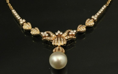 18K YG NATURAL PEARL AND DIAMOND NECKLACE