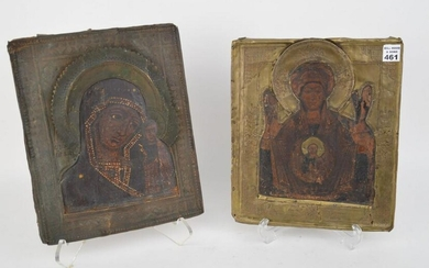 2 Antique Russian Icons, approx. 12 x 10 inches