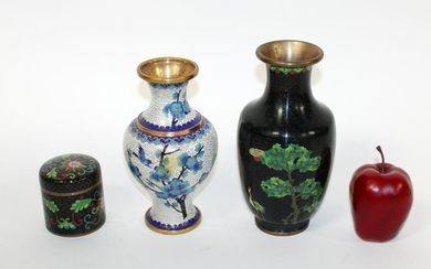 2 Chinese cloisonne vases and lidded box