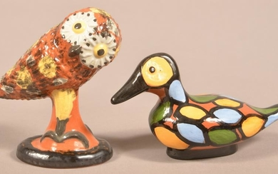 2 Seagreaves Glazed & Molded Redware Bird Figurines.