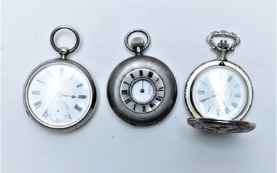 2 Sterling Silver Pocket Watches with a Plated Example