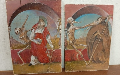 """""""2 macabre dances"""" - oil on the tablet - Late 19th century"""