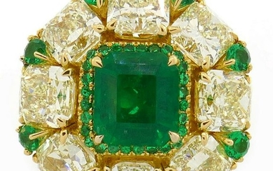 2.24-ct Emerald 8.28cts Diamond Yellow Gold RING