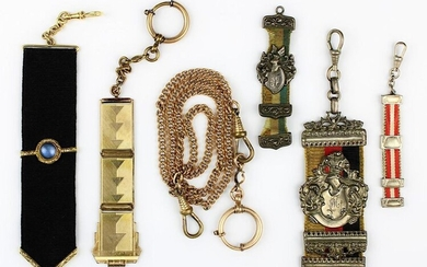 3 student beer tails, 2 jewellery beer tails, 1 watch slider and 1 watch chain: 1 large tail with German flag band, silver crest with crest and helmet and ligated monogram EM, engraved Rich. Kratzsch v. Achilles s/b Ludw. Schmidt v. Faß, S. p. 1907; 1...