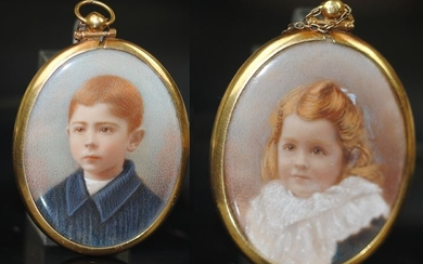 18K Gold - Finely Painted Twin Portrait Pendant 19thC