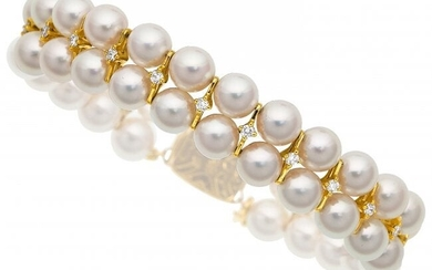 55061: Diamond, Cultured Pearl, Gold Bracelet, Mikimoto