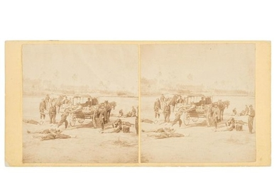 Zouave Ambulance Crew, Civil War Stereoview