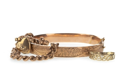 A BRACELET, BANGLE AND TWO RINGS