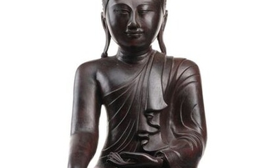 A BRONZE FIGURE OF BUDDHA SHAKYAMUNI, Burma, Mandalay period, 19th ct. - h. 48,5 cm