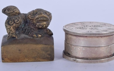 A CHINESE BRONZE SEAL, together with a white metal box.