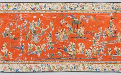 A Chinese Embroidered on Silk Festival Scene.