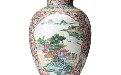 A Chinese famille rose Republic vase, 20th century.