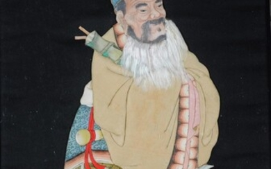 A Chinese painted 'Immortal' duiling silk panel