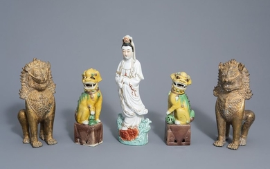 A Chinese porcelain Guanyin, a pair of sancai...