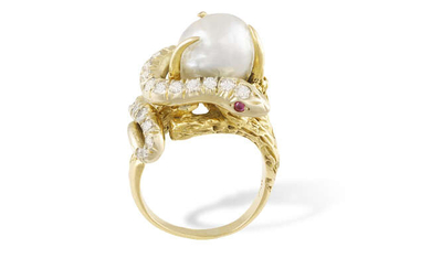 A DIAMOND, PEARL, RUBY AND EMERALD COCKTAIL RING,...