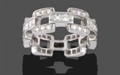 A Diamond Eternity Ring, of open brick link design, the...