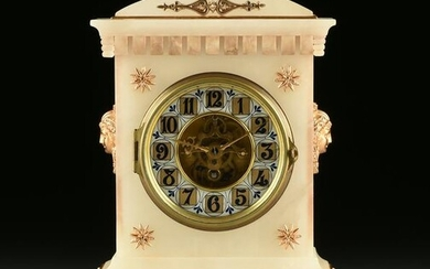 A FRENCH GILT METAL MOUNTED ALABASTER MANTLE CLOCK, BY