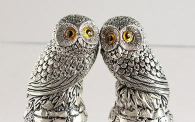 A PAIR OF CAST SILVER PLATED NOVELTY OWL SALT AND