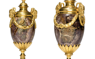 A PAIR OF GEORGE III ORMOLU-MOUNTED BLUE JOHN 'GOAT'S HEAD' CANDLE VASES