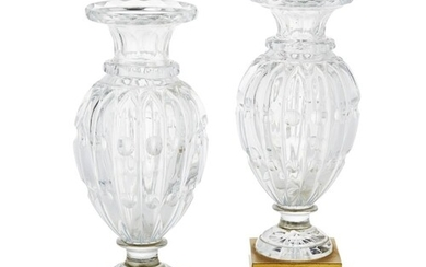 A PAIR OF LATE 19TH CENTURY FRENCH BACCARAT CRYSTAL CUT BALU...