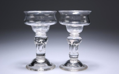 A PAIR OF MID-18TH CENTURY SWEETMEAT GLASSES, each with