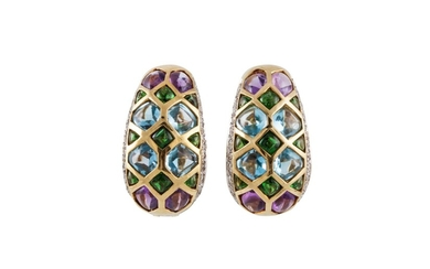 A PAIR OF MULTI COLOUR GEMSTONE AND DIAMOND CLIP EARRINGS, m...
