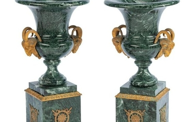 A Pair of Empire Style Gilt Metal Mounted Marble Urns