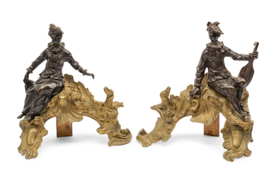 A Pair of Louis XV Style Gilt and Patinated Bronze Figural Chenets