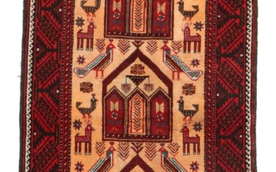 A Persian Beloutch rug, classic design with alcoves and animals on light base. 20th century. 186×116 cm.