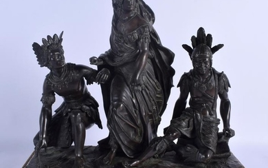 A RARE 19TH CENTURY FRENCH BRONZE GROUP modelled as a