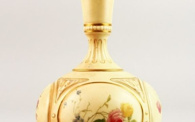 A ROYAL WORCESTER BULBOUS VASE with four panels