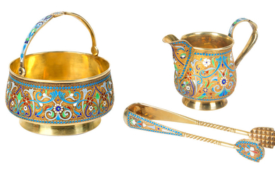 A RUSSIAN GILT SILVER AND CLOISONNE ENAMEL THREE-PIECE CREAM SET, MOSCOW, 1899-1908