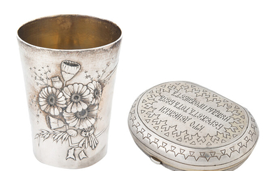 A RUSSIAN SILVER MONEY PURSE AND CUP, THE LATTER BY KHLEBNIKOV, EARLY 20TH CENTURY
