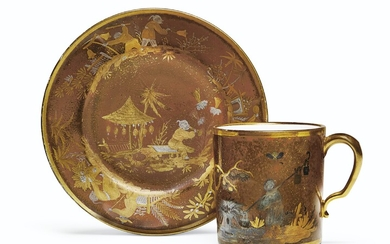 A SEVRES PORCELAIN FAUX LACQUER BROWN-GROUND CUP AND REPLACEMENT SAUCER (GOBELET 'LITRON' ET UNE SOUCOUPE, 3EME GRANDEUR), THE CUP CIRCA 1780, BLUE INTERLACED L'S MARKS ENCLOSING DATE LETTER CC, PAINTER'S MARK FOR L.-A. LE GRAND; THE SAUCER CIRCA...