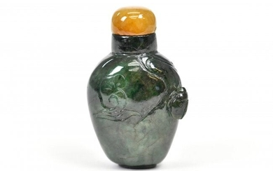 A SPINACH-GREEN JADE SNUFF BOTTLE, CHINESE
