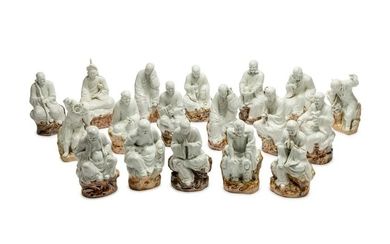 A Set of Eighteen Chinese Porcelain Figures of Lohans