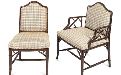 A Set of Ten Brighton Pavilion Style Faux Bamboo Dining Chairs