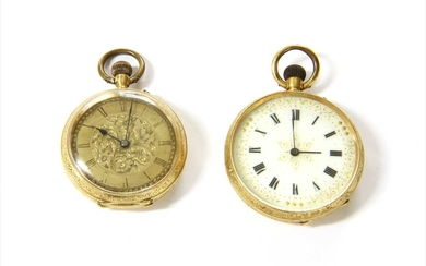 A Swiss gold pin set open-faced fob watch
