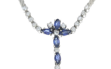 A brilliant-cut diamond and marquise-shape sapphire floral necklace.